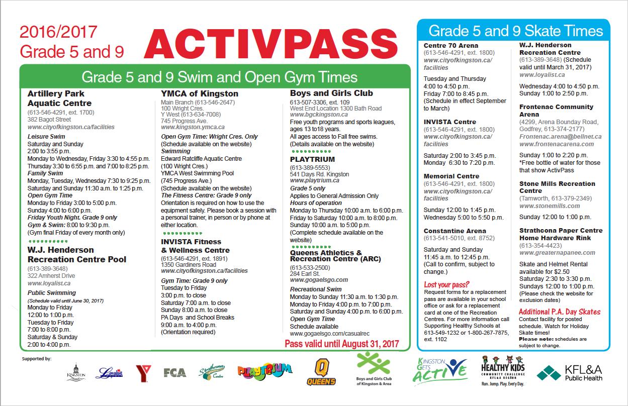 Grade 5 & 9 ActivPass | Kingston Gets Active